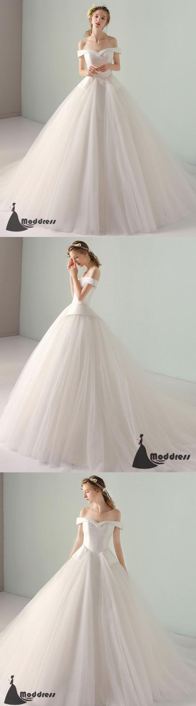 Simple long prom dress off the shoulder wedding dress tulle white