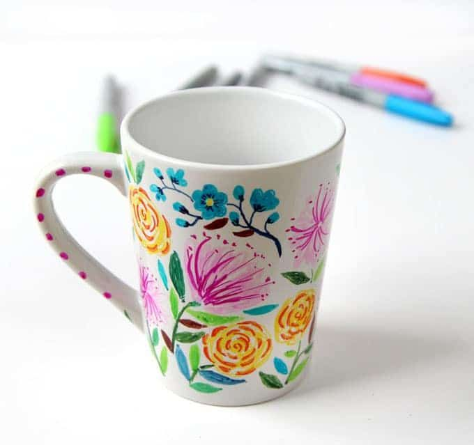 Watercolor Flower Diy Sharpie Mug Anthropologie Style Diy