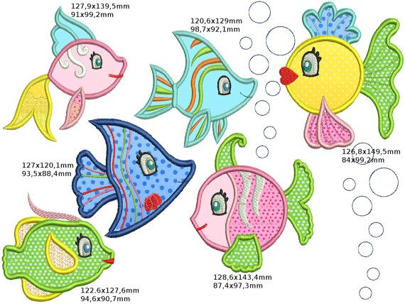 Machine Embroidery Design Fishes Fish Seaworld By
