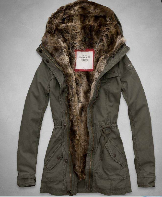 NWT Abercrombie & Fitch A&F Women's Hallie Parka Jacket Fur Lined ...