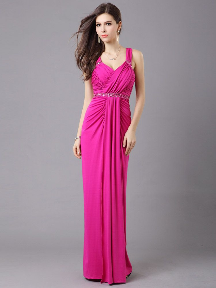 Pleated Long Evening Dress in Pink is a long pleated evening dress ...