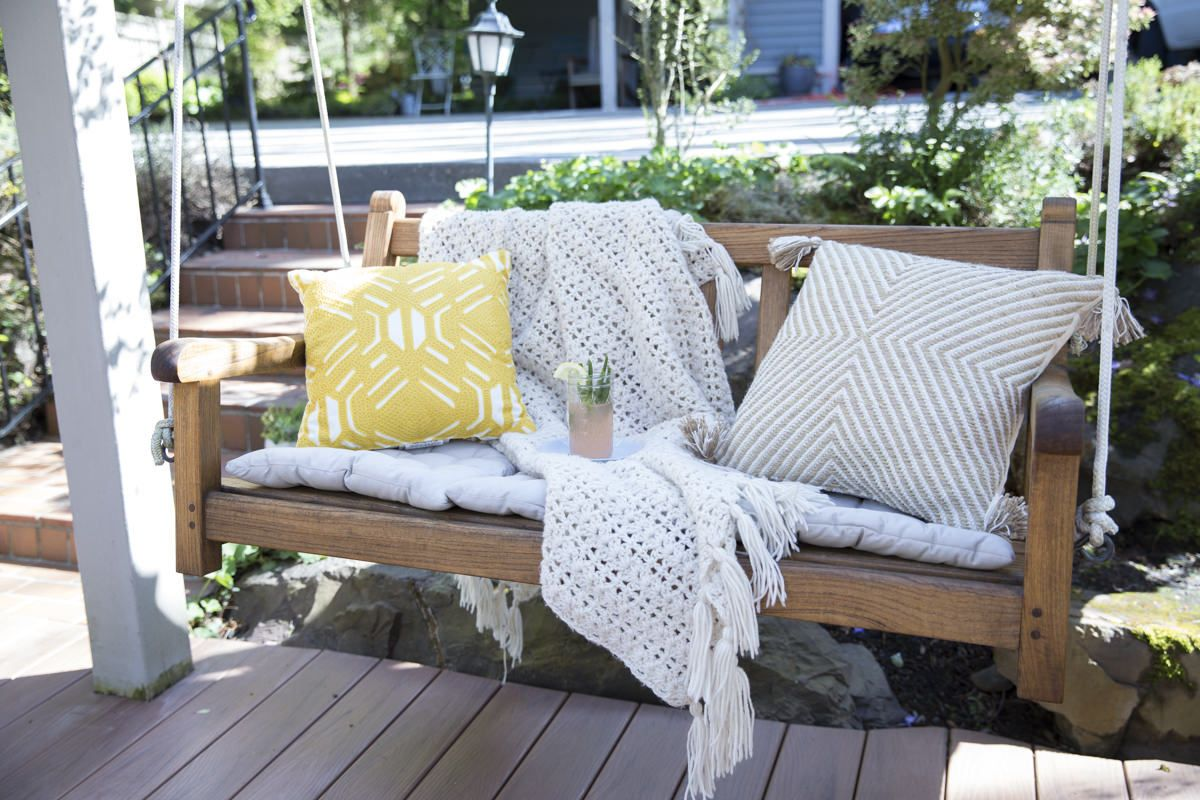 How To Refresh A Porch Swing With Teak Oil Porch Swing Teak Patio Furniture Teak Outdoor Furniture