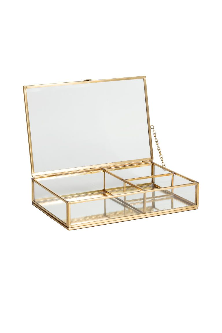 Clear Glass Jewellery Box Gold Home All H M 2 Glass Jewelry Box Jewelry Organizer Box Clear Jewelry Boxes