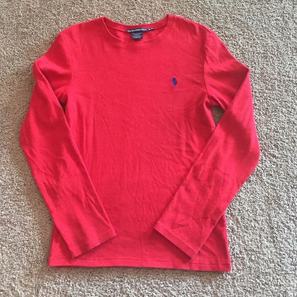 Ralph Lauren Sport long sleeve red tee EUC Bright red Ralph Lauren long sleeve t shirt. Label says Sz XL but fits (and will be listed) as a large. Ralph Lauren Tops Tees - Long Sleeve