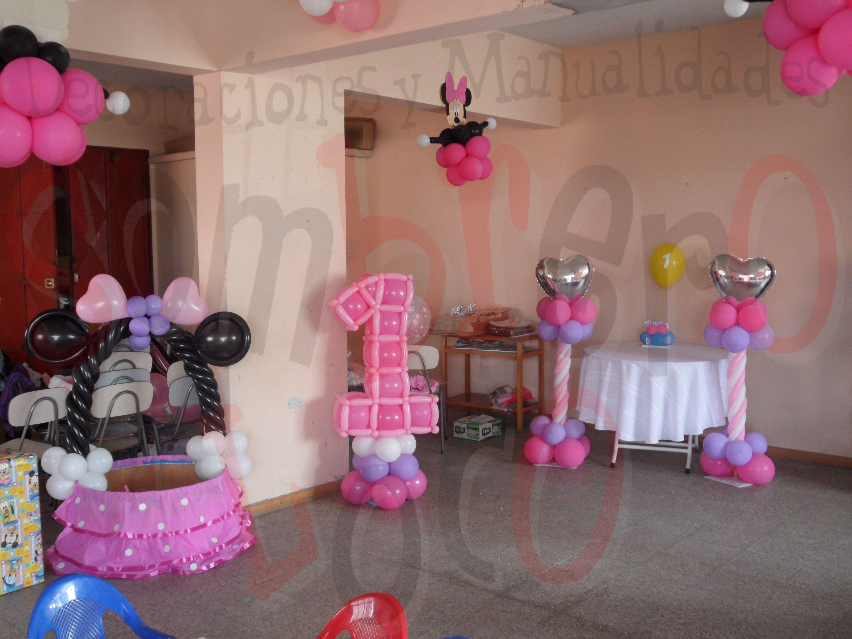 Minnie mouse decoracion con globos youtube fiesta for Decoracion minnie mouse