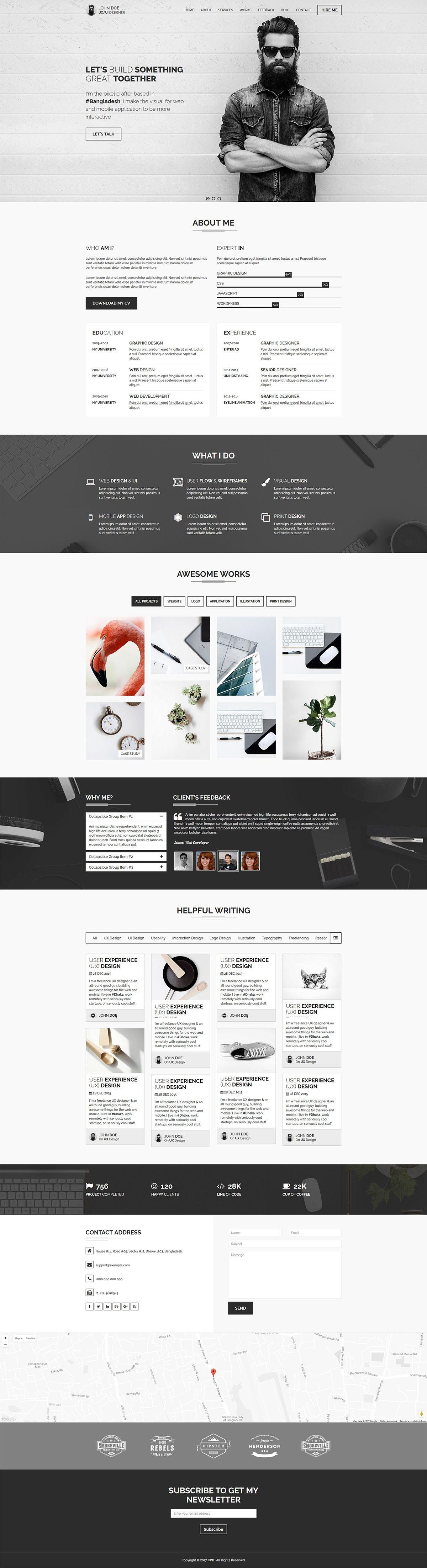 Cvit Multipurpose Personal Portfolio Vcard Cv Resume Template Portfolio Web Design Portfolio Website Design Portfolio Design