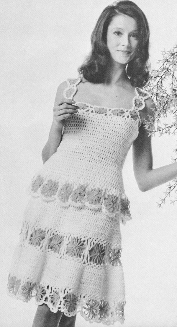 Daisy Chemise Dress Vintage 1970s Crochet Pattern PDF | sahcha ...