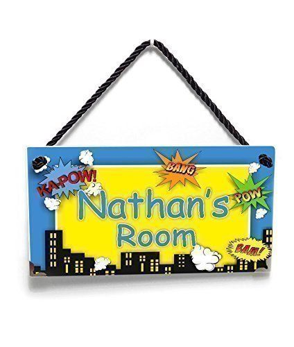 Personalized Superheroes Themed Kids Name Door Sign, Blue and Yellow Room Decor *** Find out more about the great product at the image link. (This is an affiliate link and I receive a commission for the sales)