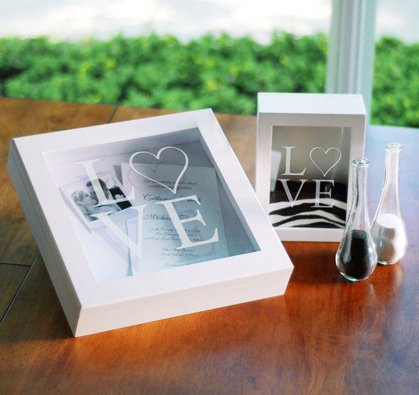 Reception Ceremony Burial: White Modern Love Wedding Shadow Box Set