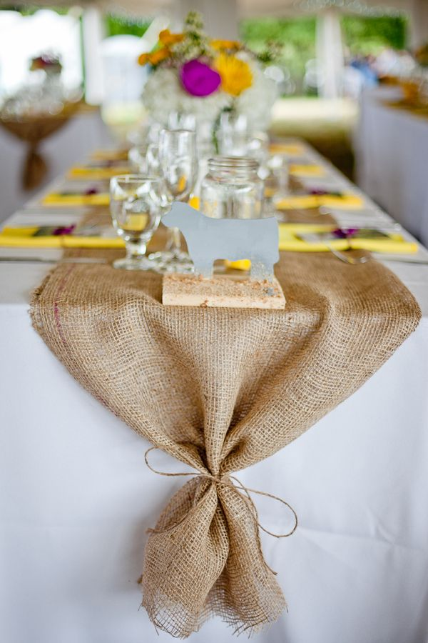 514e173ef74  3 Burlap Table Runner Ummm...it doesn t get any easier than this! Lay  required length of burlap along center of table and tie ends with twine!