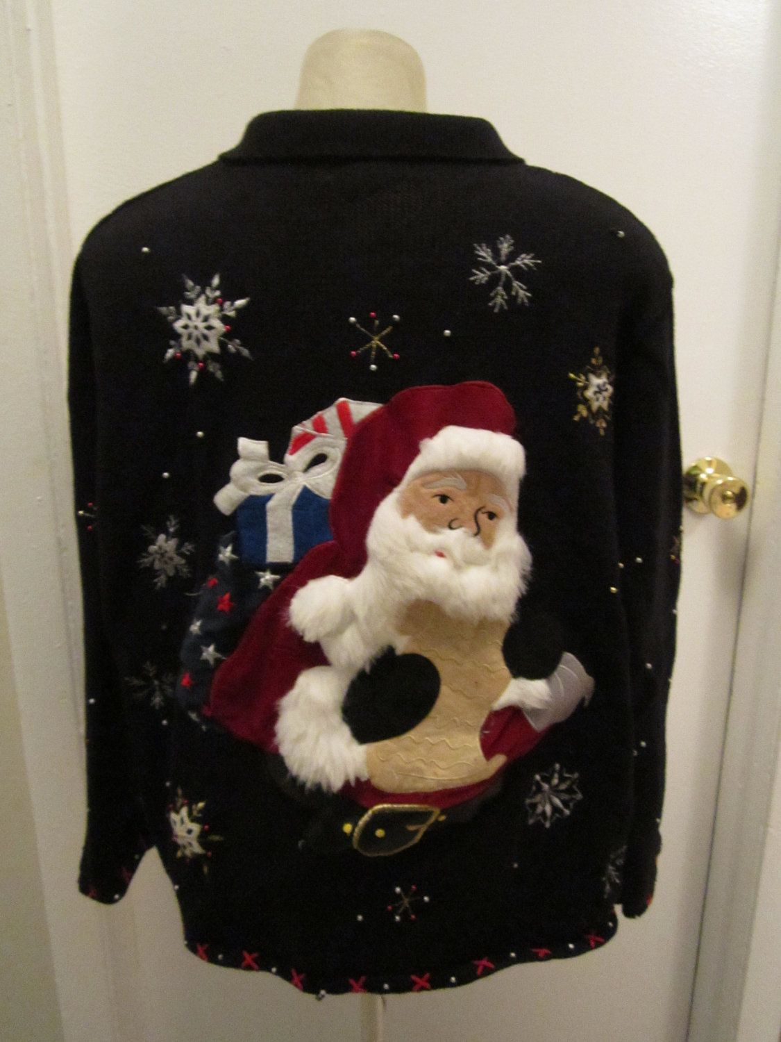 2ba177951384 Huge Creepy Life Like Santa Ugly Christmas Sweater Size 2X Zip Front  Cardigan Got to have this one. $45.00, via Etsy. WHY ISN'T SANTA WEARING A  SHIRT?
