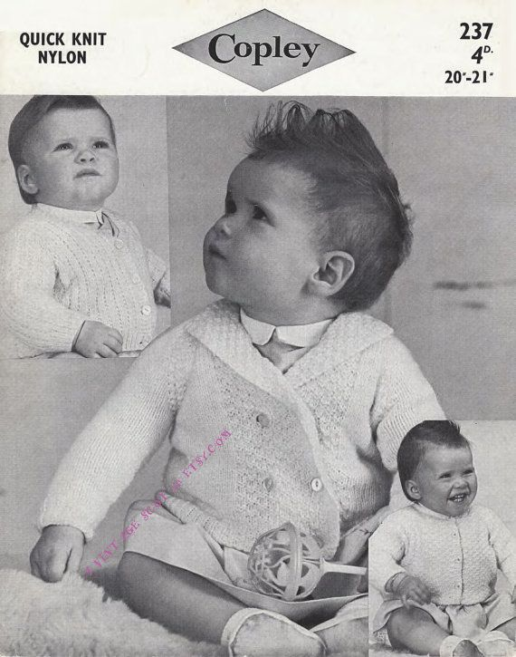 Baby / Toddler Cardigans 3 styles for QK 8ply light worsted yarn sizes 20 - 21 ins - PDF of Vintage Knitting Patterns - Instant Download