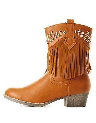 Studded Fringe Cowboy Boots: Charlotte Russe