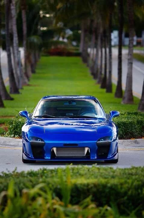 Marvelous Mazda FD RX7, Green Grass, Trees, Concrete Crosswalk, Divider, Two Lane  Road, Egyptian Blue