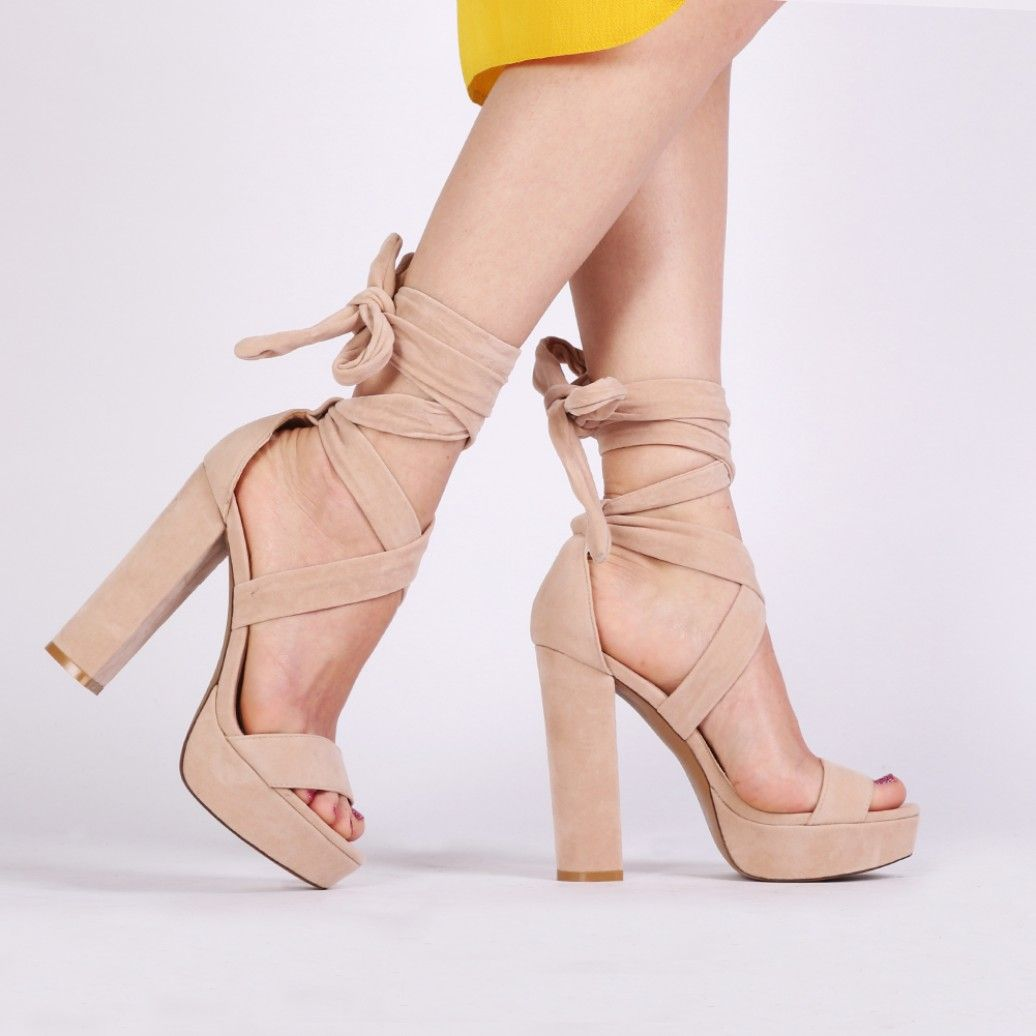 Adrina Lace Up Heels in Nude Faux Suede