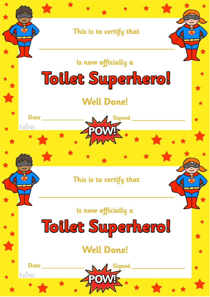 Twinkl Resources >> Toilet Superhero Certificate ...