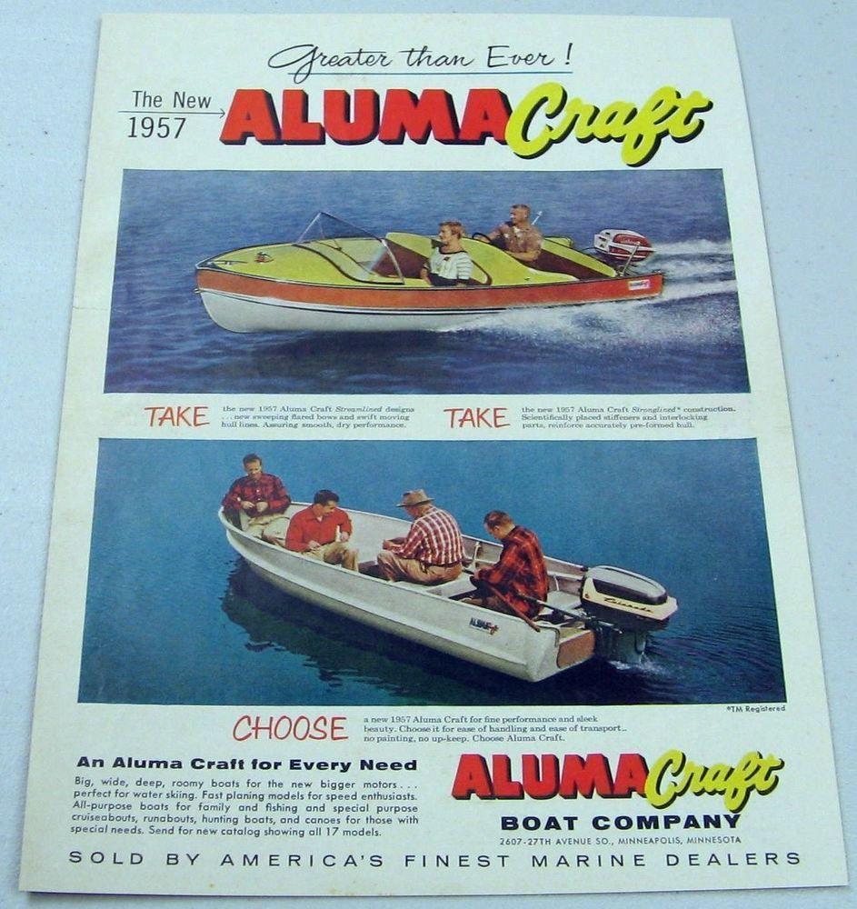 1957 Print Ad Aluma Craft Boats Johnson & Evinrude Outboard Motor
