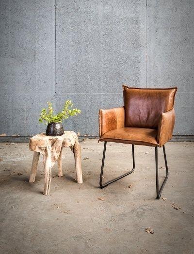 Comfortabele lederen eetkamerstoelen met arm - banken en stoelen ...
