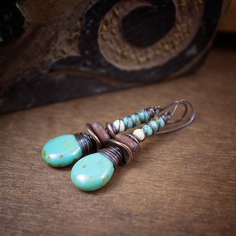 rustic glass and copper earrings • wire wrapped drop beads • raw glass • turquoise earrings • tribal • ethnic • frosted colors • oxidized by entre2et7 on Etsy