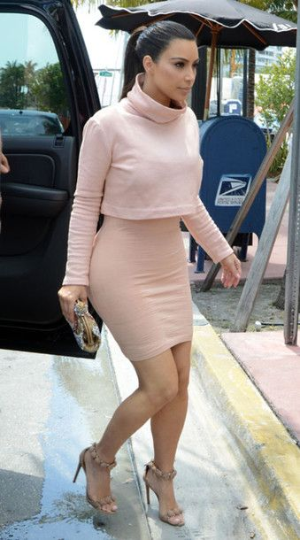 skirt nude light pink kim kardashian pencil skirt blouse | Fashion ...
