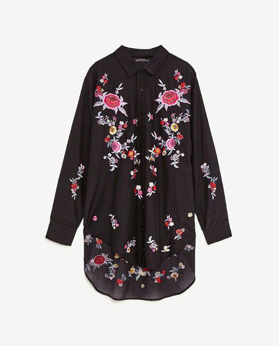 Zdjecie 8 Koszula Z Haftem W Kwiaty Z Zara Embroidered Shirt Outfit Zara Embroidered Shirt Shirt Embroidery