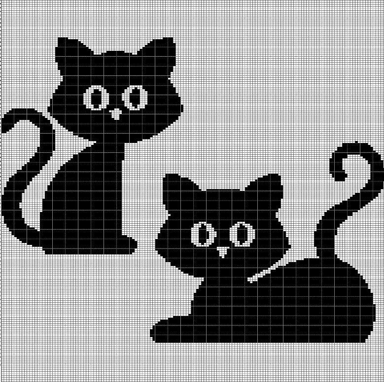 2+BLACK+CAT+CROCHET+AFGHAN+PATTERN+GRAPH | crafts | Pinterest | Gato ...