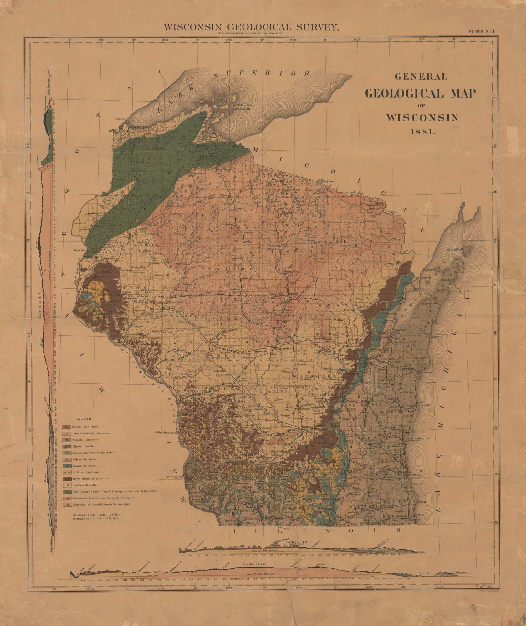 Map Of The Day July General Geological Map Of Wisconsin - Map of wisc