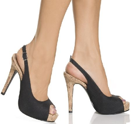 The Highest Heel Shoes Precious 101 Black Chic black slingback shoes with peep-toe and thin back strap with adjustable length and metallic buckle closure on the exterior side. The look is completed by the 5 inch (12.5 cm) high heels with cork http://www.MightGet.com/january-2017-12/the-highest-heel-shoes-precious-101-black.asp