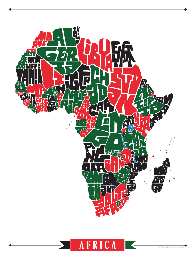 Africa Type Map Poster   Art in 2019   How to draw hands, Types of