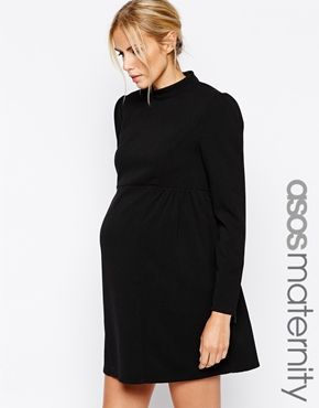 4712146dd9297 ASOS Maternity Funnel Neck Swing Dress with Zip Cuffs | maternity ...
