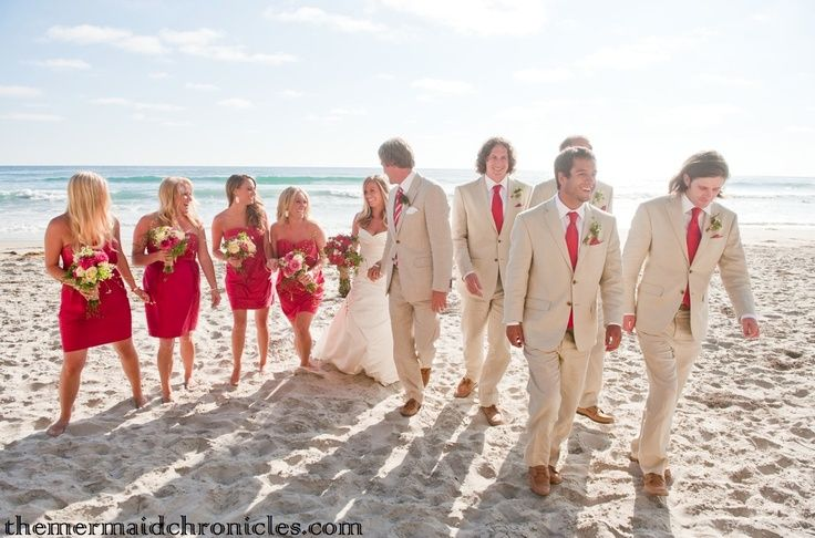 LOVE the khaki suits and bright red contrast! | tuxedos and beach ...