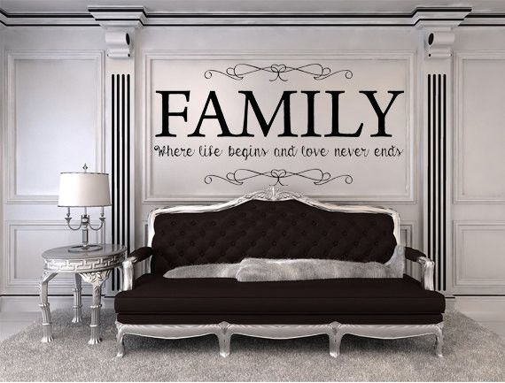 Family Where Life Begins And Love Never Ends Vinyl Wall Decal - Custom vinyl lettering for walls