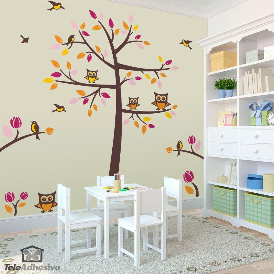 Vinilo decorativo arbol p jaros y buhos vinilos de - Arboles decorativos ...