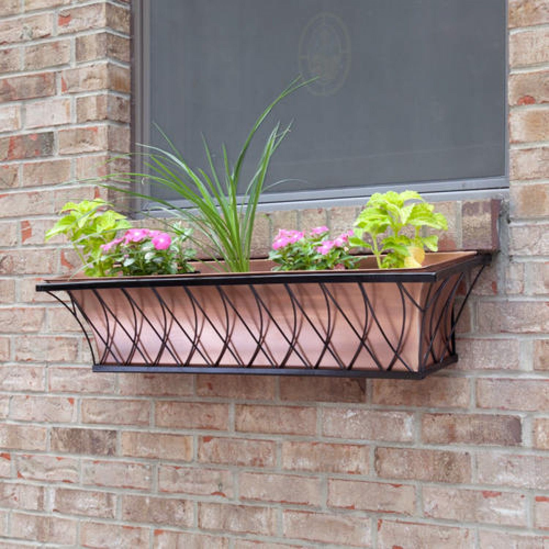 Window Box Planter Ideas: Copper Window Box Planter With Lattice Frame