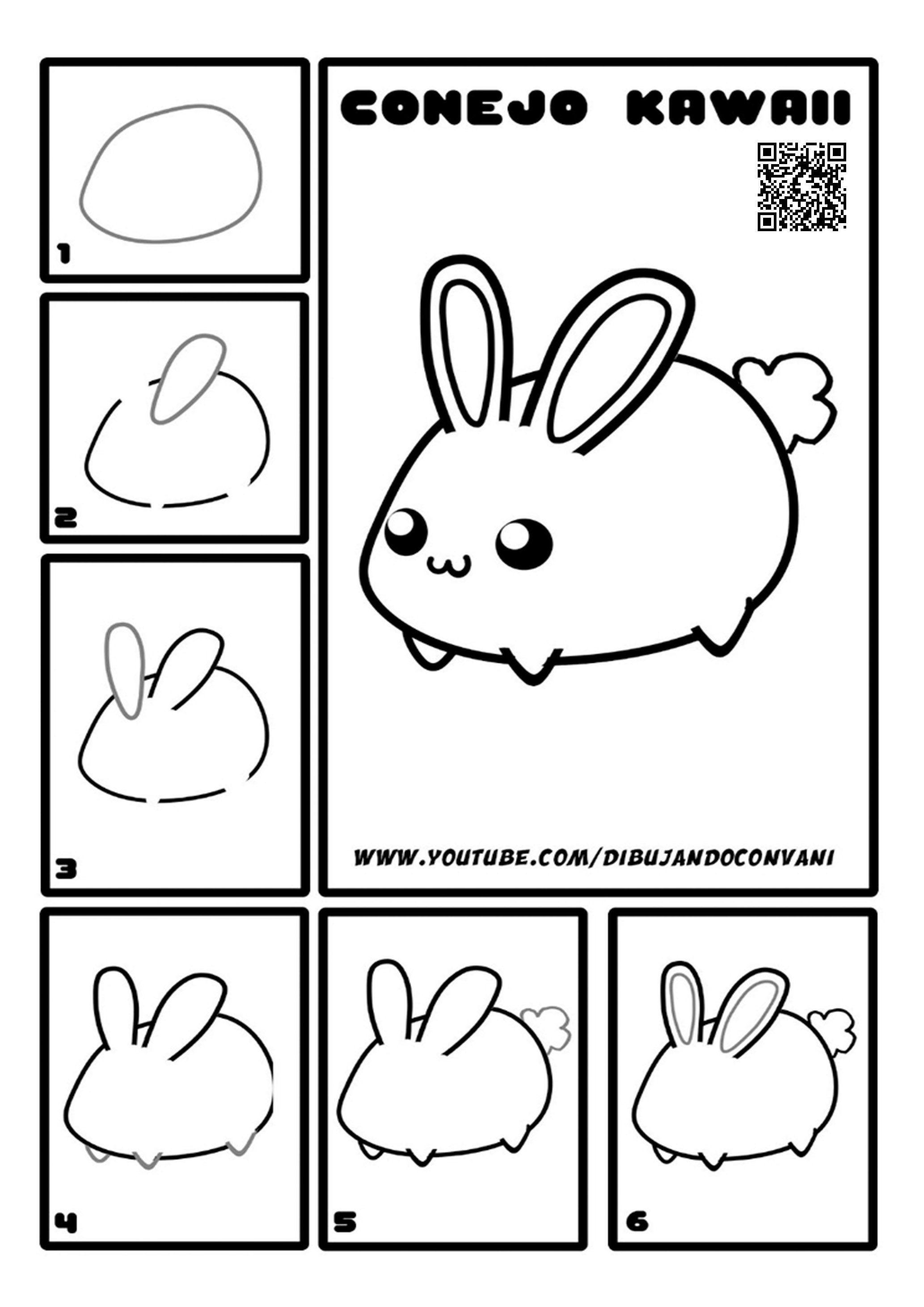 Como Dibujar Un Conejito Facil Dibujos Kawaii Faciles Dibujo Paso A Paso Animales Faciles De Dibujar