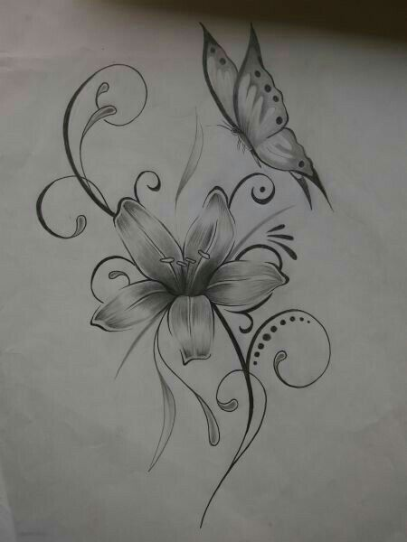 fac5ea5b5 Cute flower and butterfly tattoo | tattoos | Feather tattoos ...