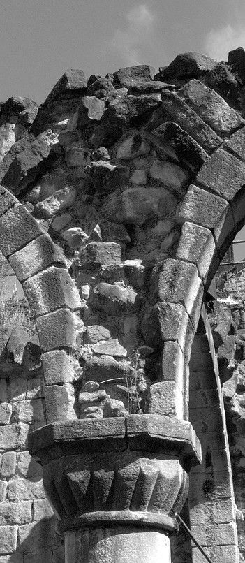 Detail of an arch at Kirkstall Abbey