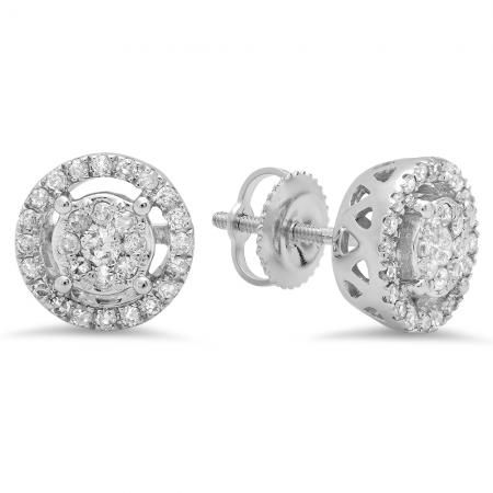 Sparkling and elegant, these stud earrings are a thoughtful look for April birthday girl. Fashioned in 10K White Gold, these dazzling stud earrings each showcase an eye-catching black diamond center stone. A single halo frame of shimmering white diamonds borders the center stones and lines the earring front. Radiant with 2.40 ct. of diamonds and a polished shine, these dangling earrings secure comfortably with screw backs.