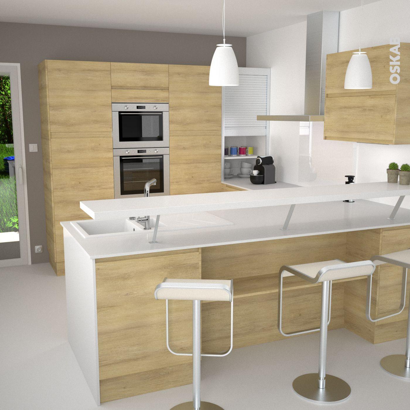 Cuisine nordique blanche et bois épurée, modèle design sans poignée ...