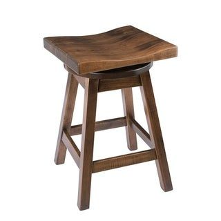 Saddle Style Swivel Bar Stool In Maple Wood Michael S Cherry Counter Height 23 28 In Brown Bar Stools Rustic Bar Stools Stool