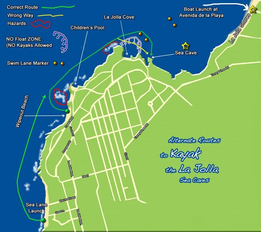 La Jolla Cove Kayak Kayaking Map Kayaking San Diego Places I D