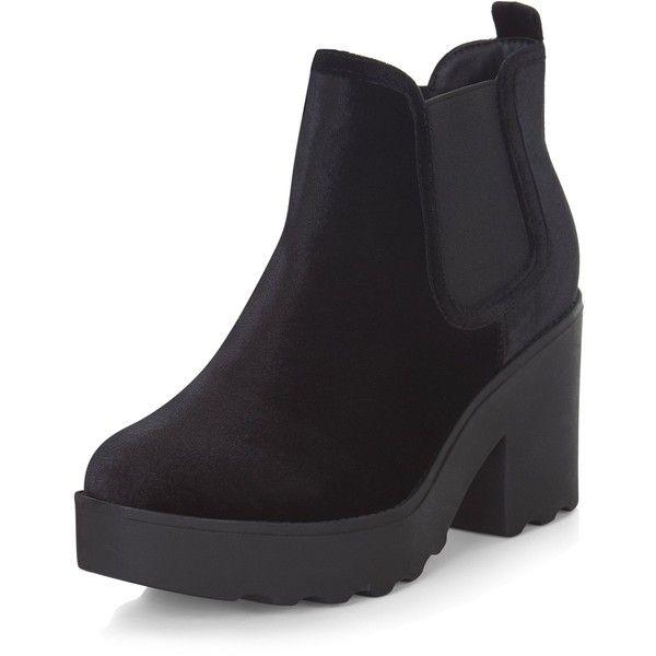 Black Velvet Chunky Chelsea Boots