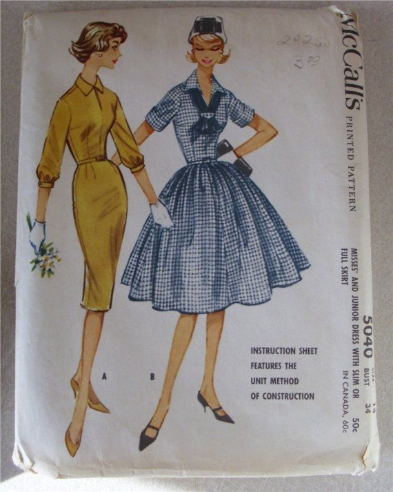 vintage NEW 1950s Dress Pattern factory folded by dhedwards, $10.50