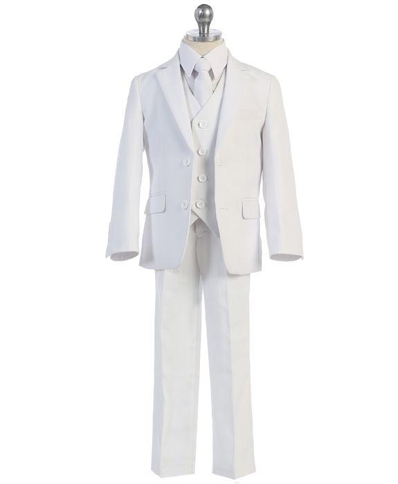 boys 5 piece essential white suit