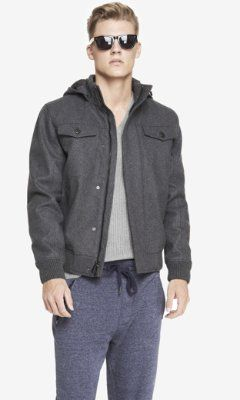 EXPRESS TECH WATER RESISTANT HOODED BOMBER JACKET from EXPRESS