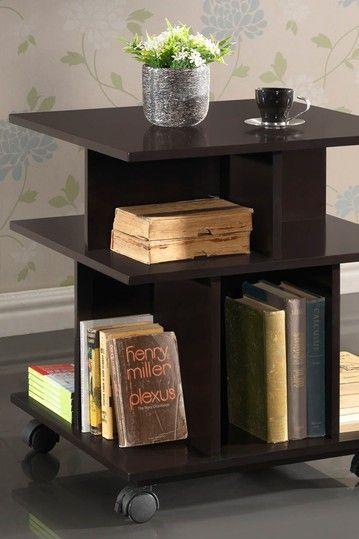 Rolling 4 Sided Bookshelf Table Looks Cool