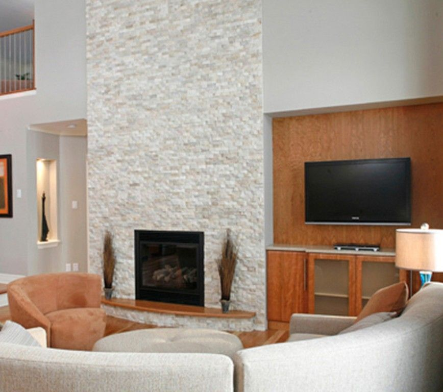 Contemproary Living Room with white staced stone fireplace ...