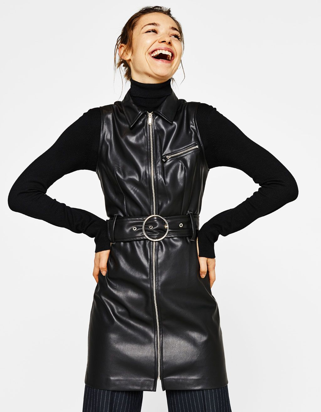 Faux leather dress with belt Faux leather dress, Leather