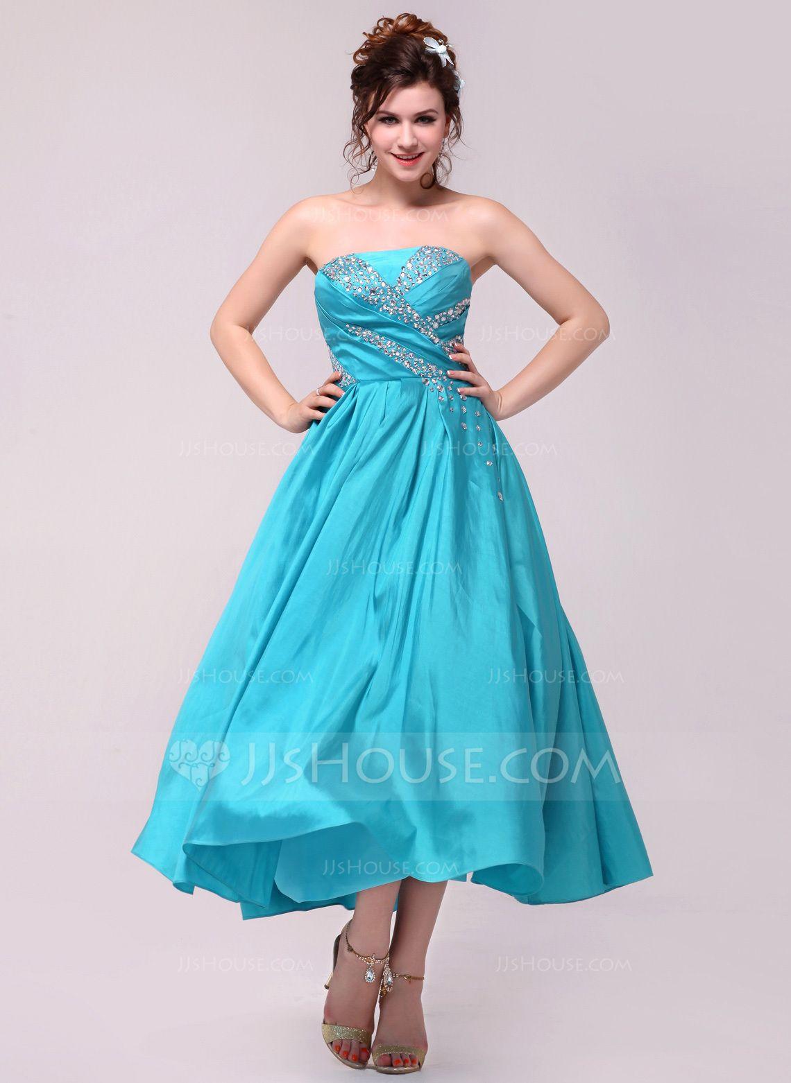 Alineprincess strapless anklelength taffeta prom dress with