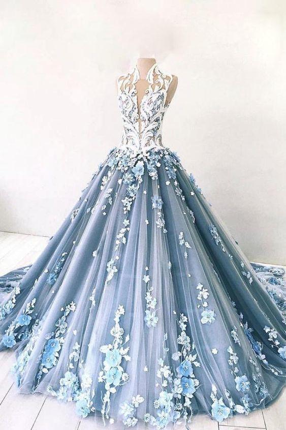 Unique blue tulle lace long prom dress, blue lace tulle evening dress ML596